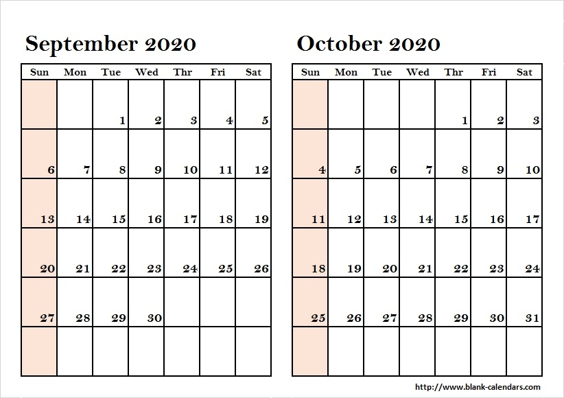 September To October Two Month 2020 Calendar