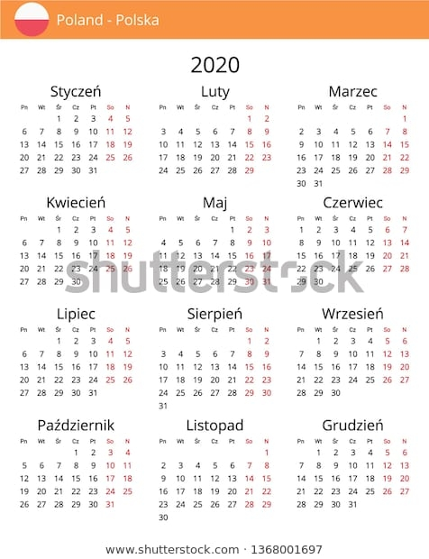 Calendar 2020 Poland Holidays