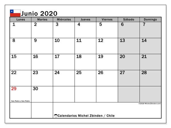 Calendario De Enero 2020 A Junio De 2020