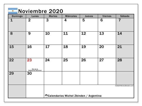 Calendario Noviembre 2019 A Febrero 2020