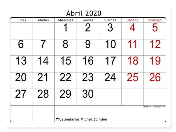 Calendario De Noviembre 2019 A Abril De 2020