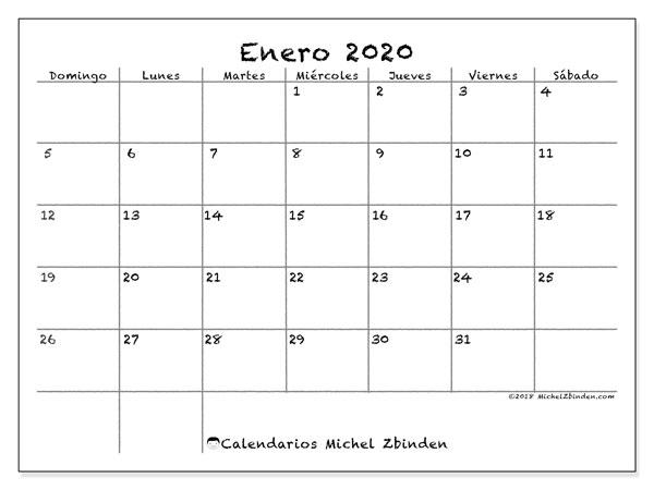 Calendario Enero Febrero Marzo 2020