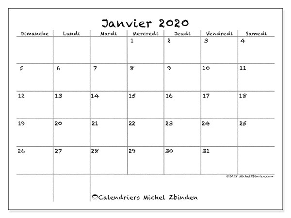Janvier 2020 Calendrier