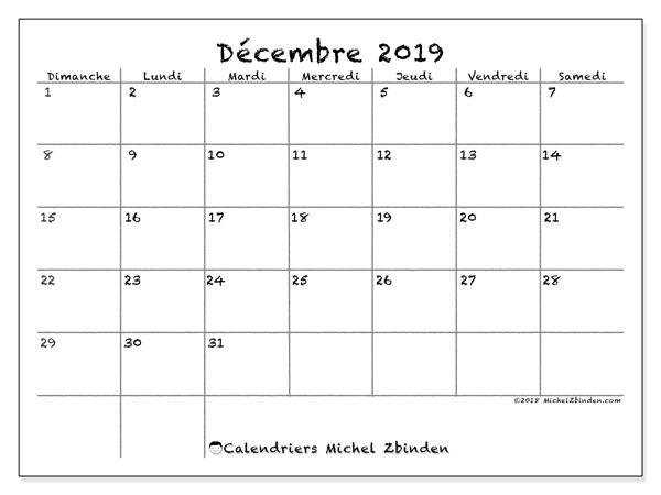 Calendrier Decembre 2019