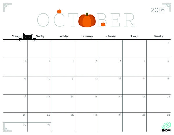 October 2019 Calendar Printable Cute