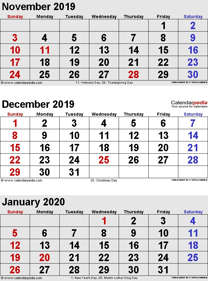 December 2020 January 2019 Calendar