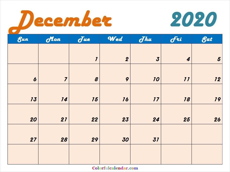 Cute December 2020 Calendar