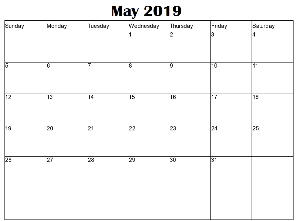 Calendar May 2019 Editable