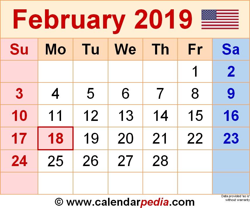 Calendar February 2019 In Pdf