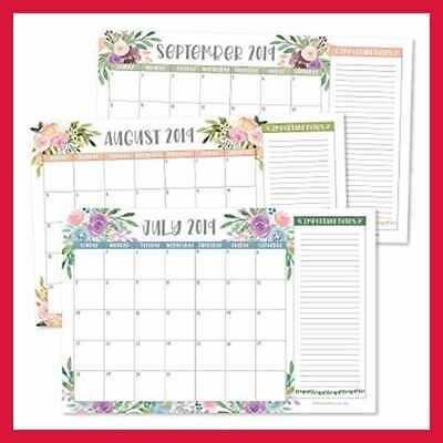 Floral October 2020 Desk Wall Calendar