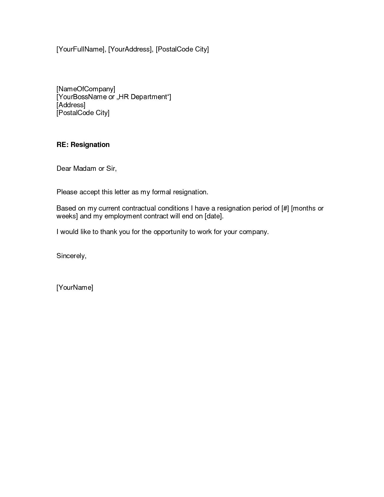 Sample Resignation Letter Templates Free