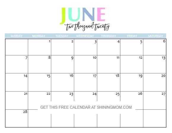 June Calendar 2020 Printable