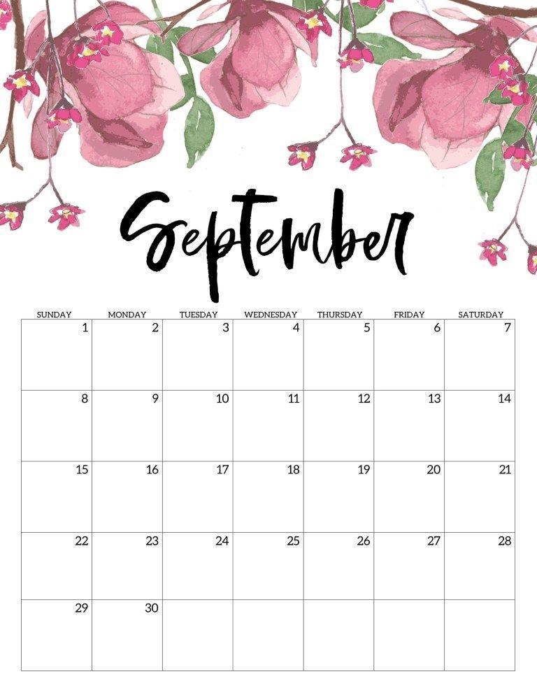 Free Printable Calendar 2019 Floral Bullet Journal September