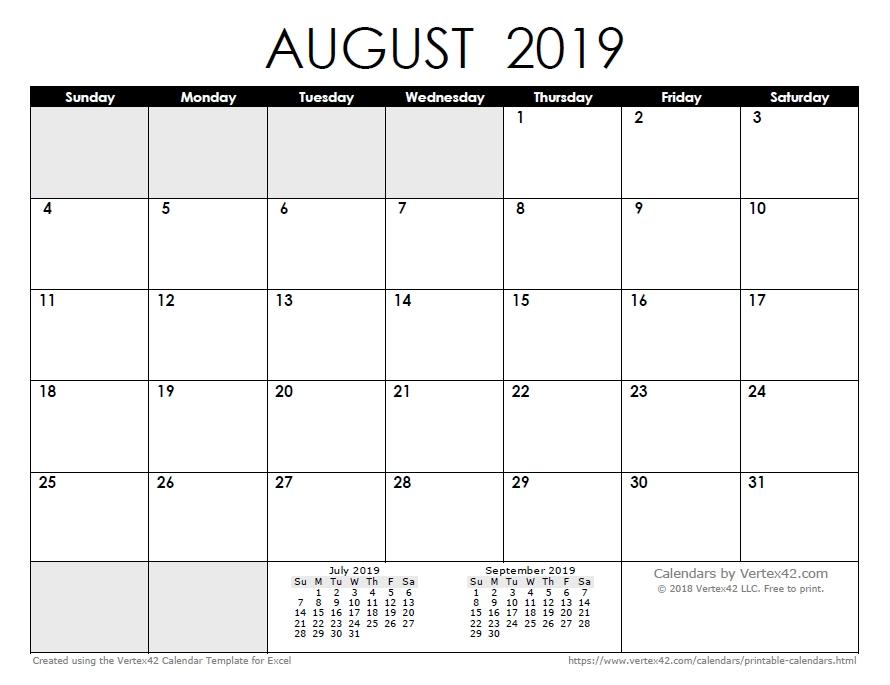 Print May August 2020 Calendar