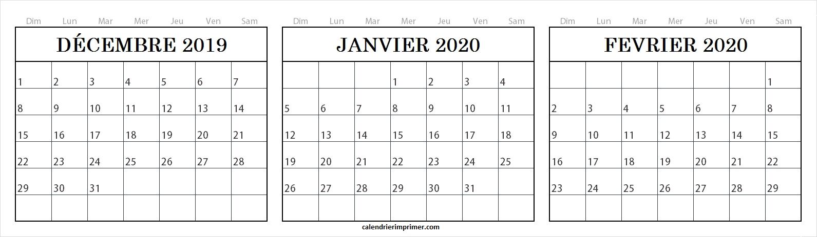 Calendrier Decembre 2019 Janvier Fevrier 2020 A Imprimer
