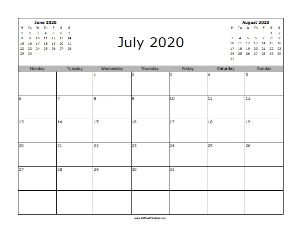 Print July 2020 Calendar
