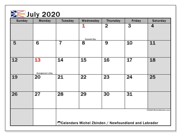 July 2020 Calendar Newfoundland And Labrador Canada Michel
