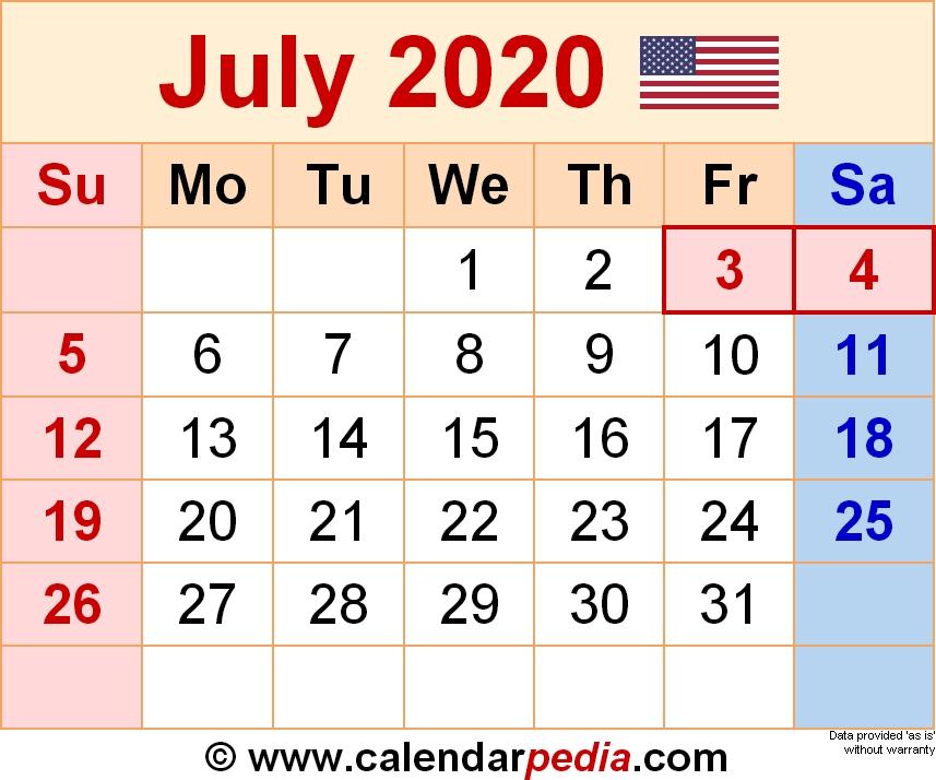 July 2020 Calendar Month