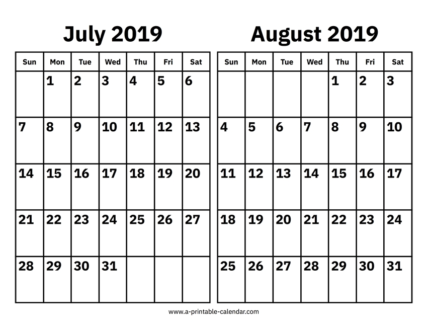 Printable Calendar Jul Aug 2019