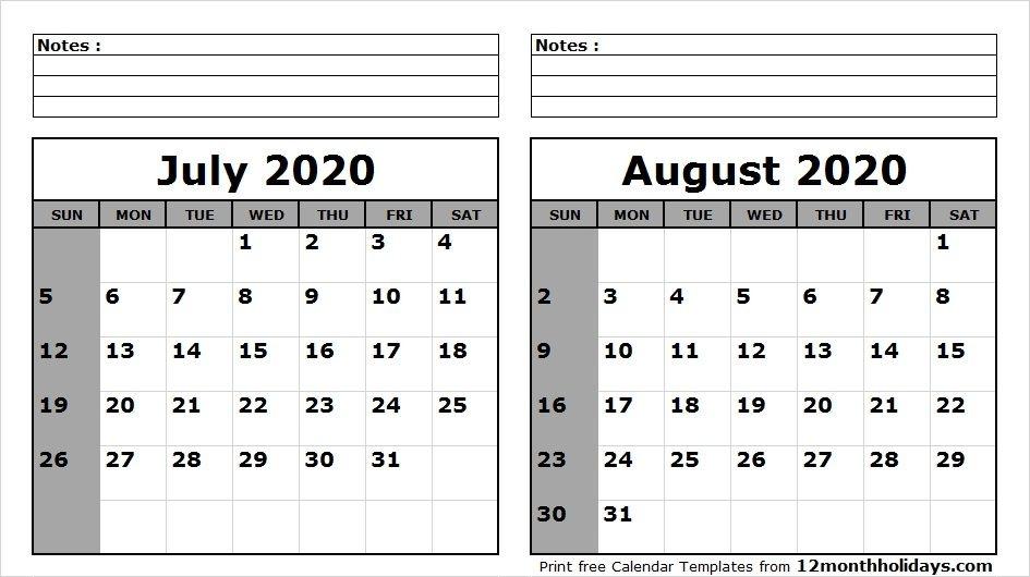 Print July August 2020 Calendar