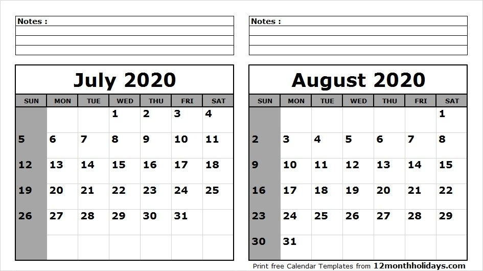 Printable June July August 2020 Calendar