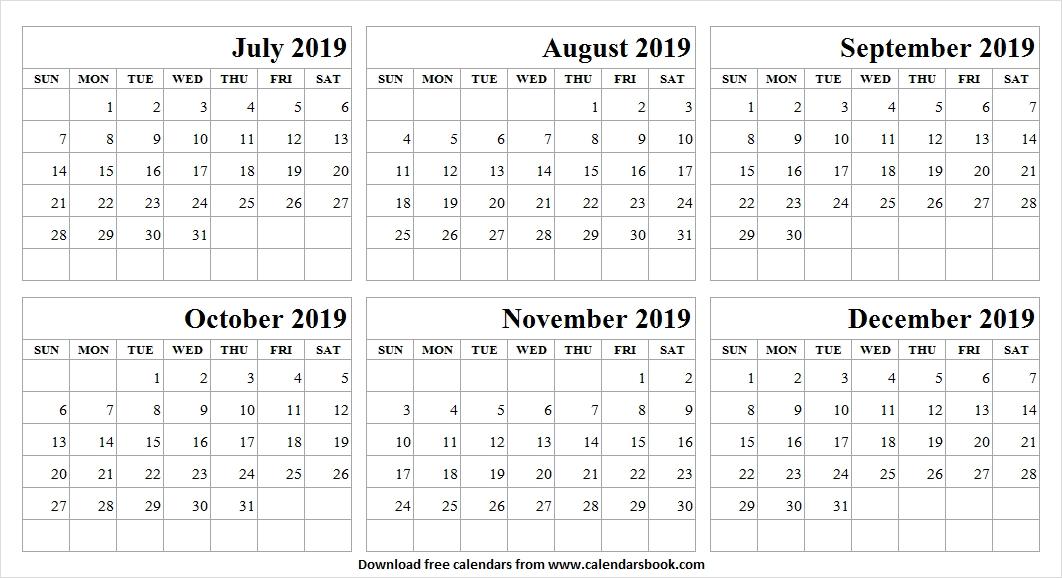 July December 2019 Calendar Template
