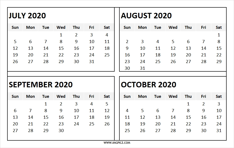 July To October 2020 Four Month Calendar