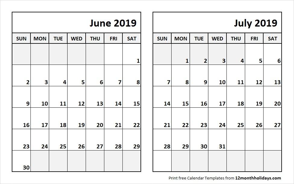 Blank Calendar 2019 Jun Jul
