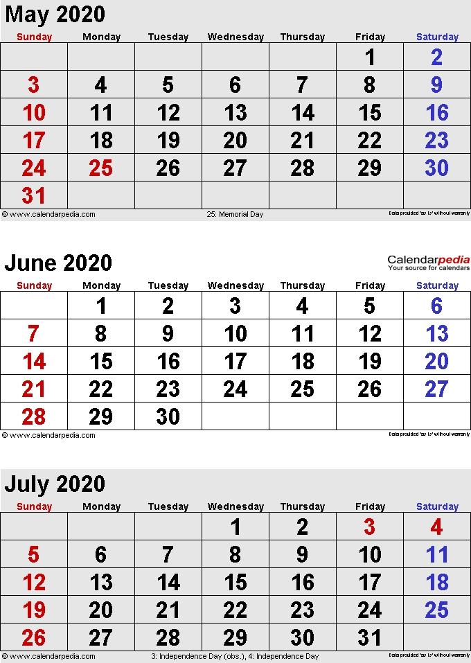 May To July 2020 Calendar