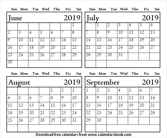 June July August September 2019 Calendar With Lines