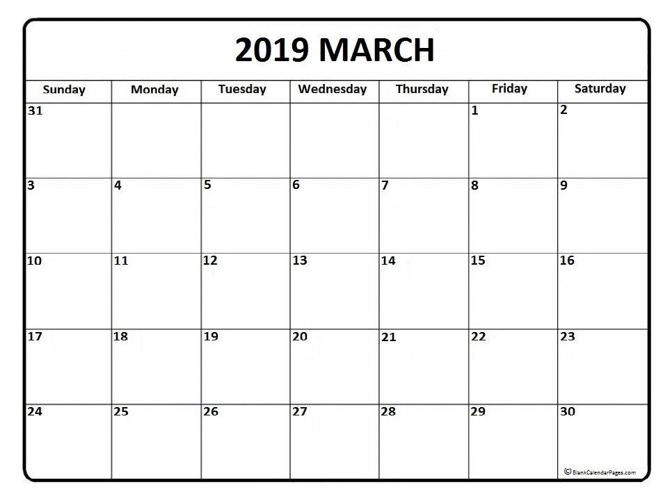 March Month Calendar 2019