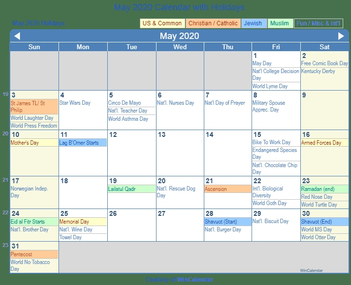 May 2020 Calendar With Holidays United States