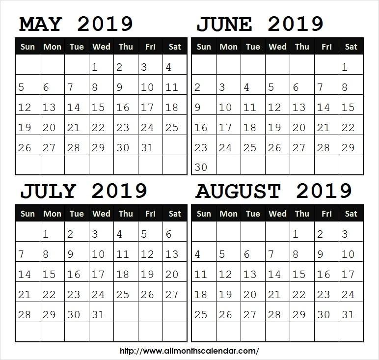 Calendar 2019 May Jun Jul Aug