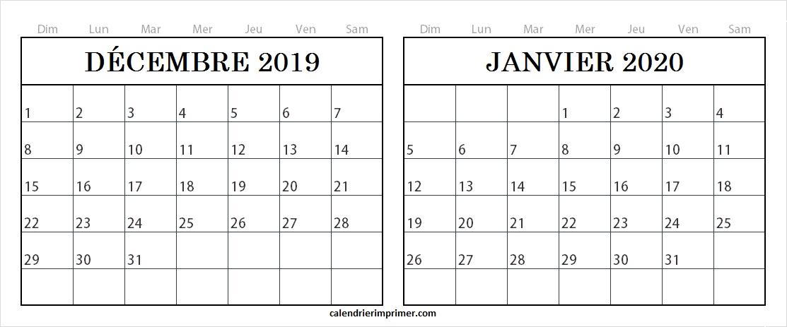 Modle Calendrier Dcembre 2019 Janvier 2020 Vacances Imprimer