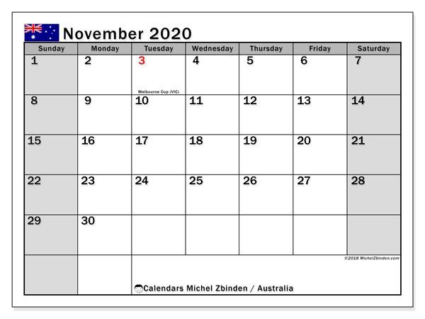 November 2020 Calendar Australia