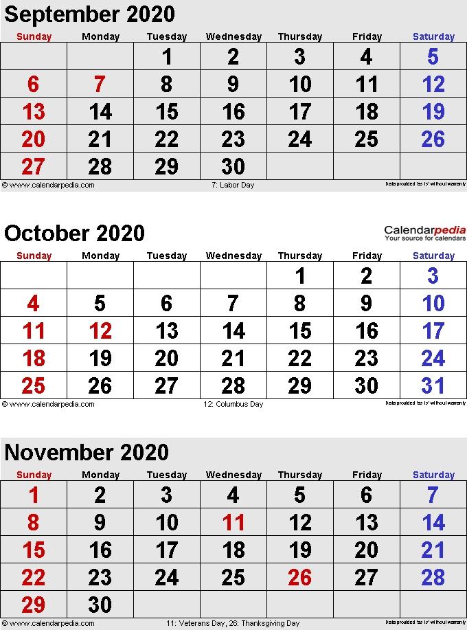 Three Month Calendar September October November 2020