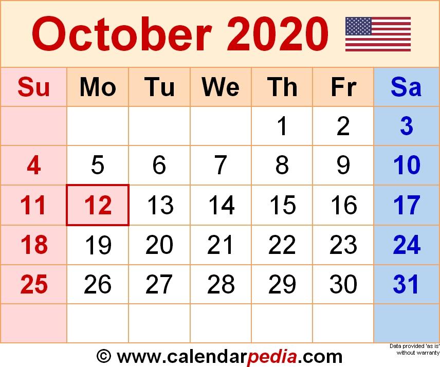 October 2020 Monthly Calendar