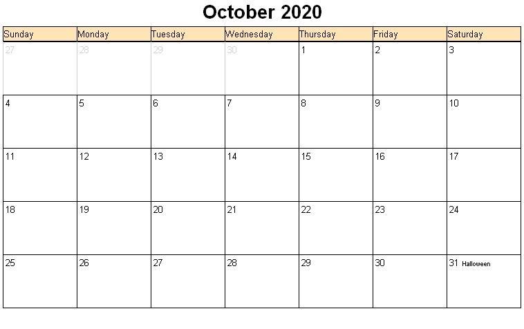 2020 October Calendar Printable