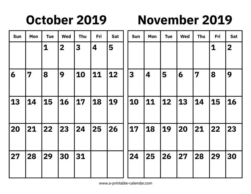 Printable Calendar October November 2019