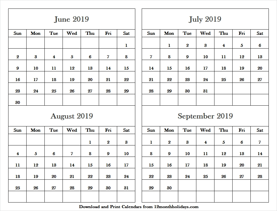Png Calendar 2019 June July And August