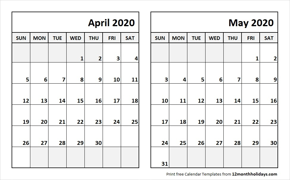 Calendar April And May 2020 Template