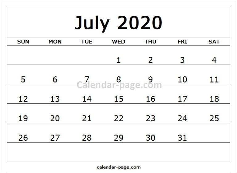 Four Month Calendar April To July 2020