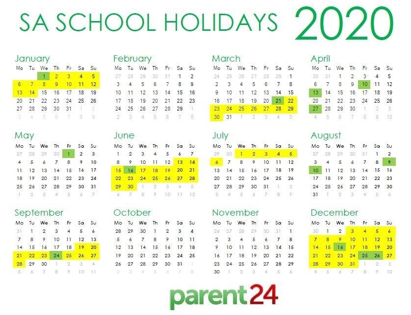 2020 Calendar South Africa