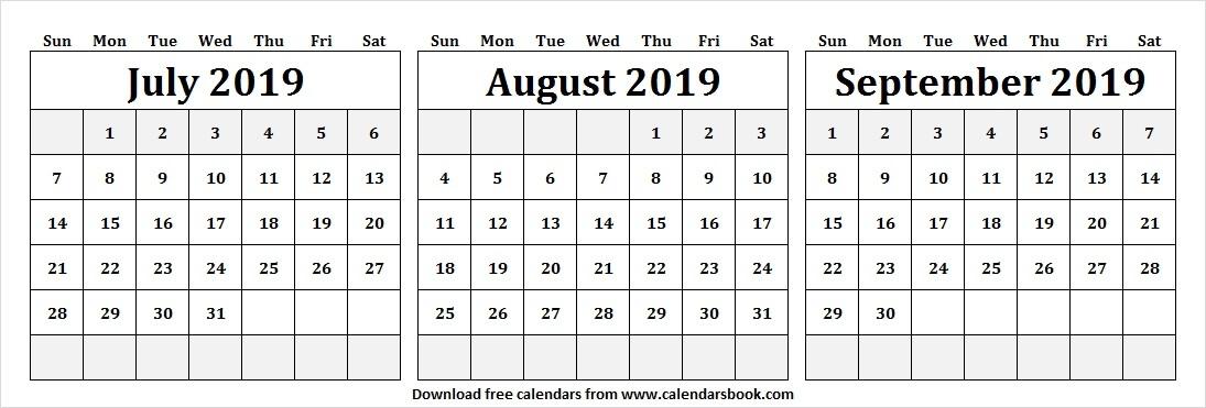 2019 Jul Aug Sep Calendar
