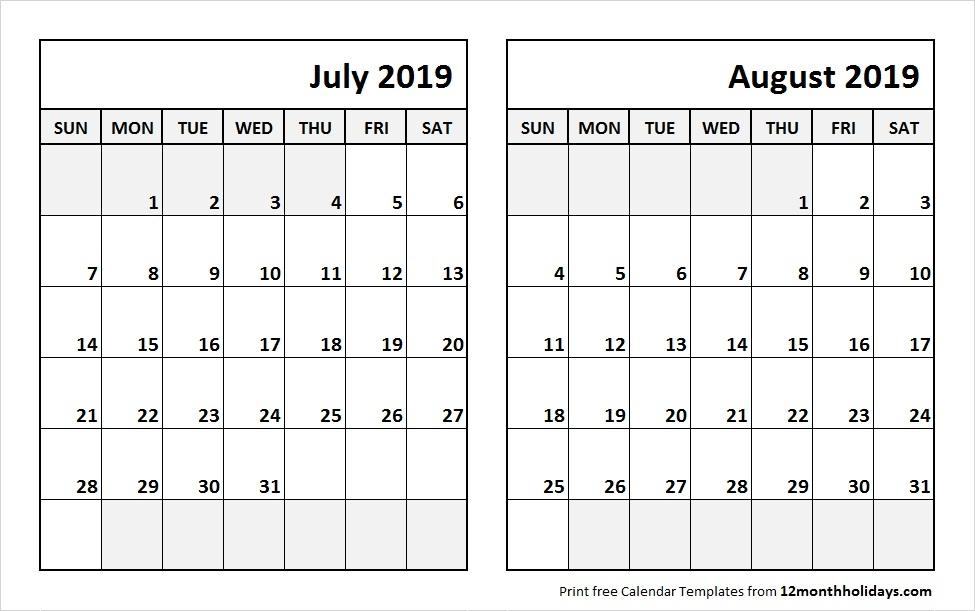 Jul And Aug 2019 Calendar