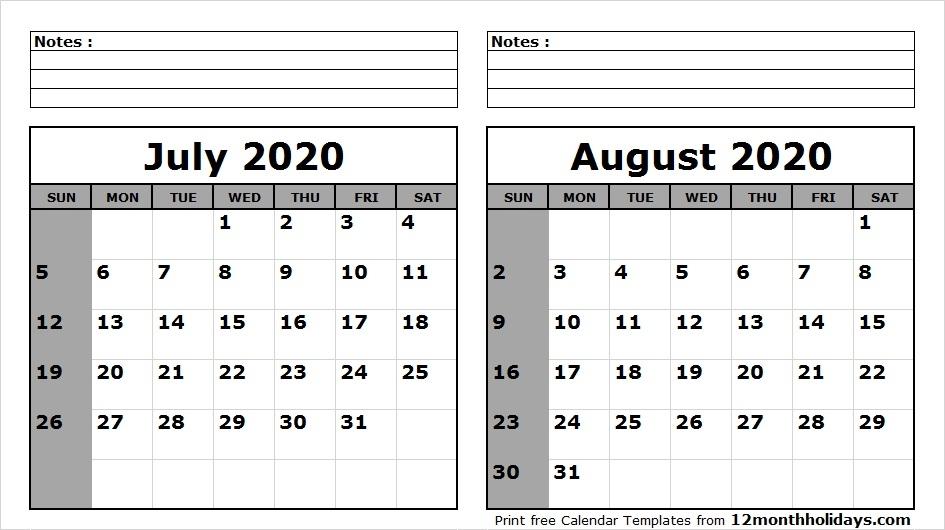 Blank Calendar For August 2020