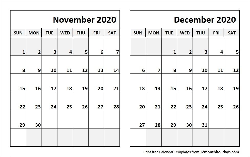 Monthly Calendar November 2020 Template
