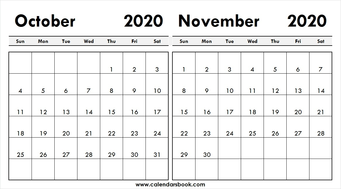 Calendar September October November 2020 Template