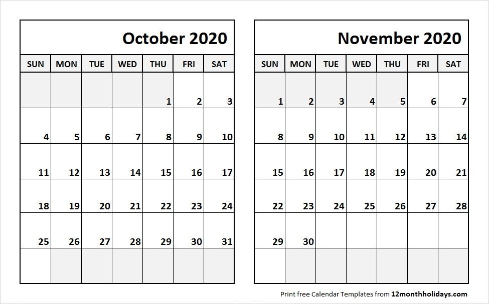 October November 2020 Calendar Printable