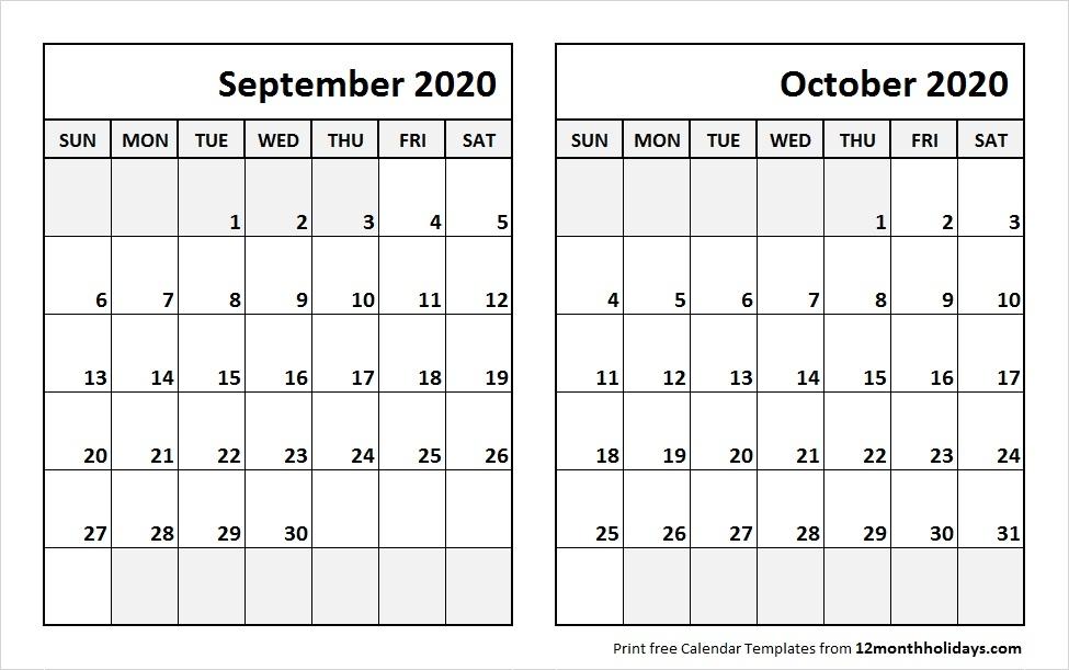 Print September October 2020 Calendar Template 2 Month Calendar